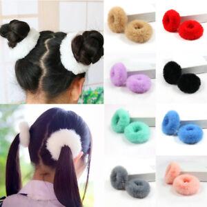 2Pcs Kid Girl Elastic Hair Ring Furry Scrunchie Fluffy Rope Band Ponytail Holder