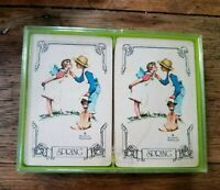 "Vintage Hallmark Bridge Playing Cards ""Awakening"" 2 Complete  Decks in Case"