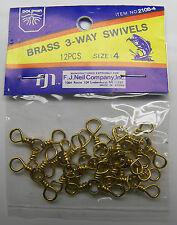 BRASS 3-WAY SWIVELS  NEW In Original Package F.J NEIL CO 12PCS SIZE 4