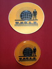THE MAN FROM U.N.C.L.E.  GOLD PLATED BADGE &  STICKER