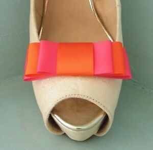 2 Handmade Cerise Pink & Orange Triple Bow Shoe Clips - other colours on request