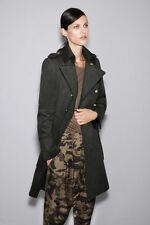ZARA GREEN WOOL MILITARY COAT BUTTONS LONG BLOGGER EXTRA LARGE XL L NWT