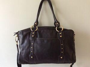 STORKSAK ELIZABETH real leather ladies black nappy/diaper/changing