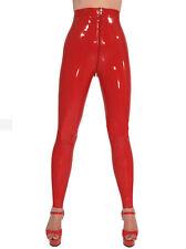 Sexy Latex Women Pants Rubber Leggings Trousers Front Zipper Gummi 0.4mm Unique