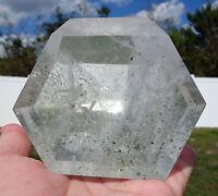 Clear Quartz Crystal Point w/ Green Chlorite Inclusions Custom Freeform For Sale