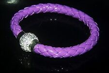 PURPLE FAU LEATHER PLATTED WHITE CRYSTAL MAGNETIC CLASP BRACELET