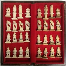 Antique Chess Set Hand Carved Bone Chess Pieces.