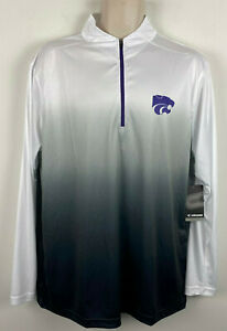 Kansas State Wildcats 1/4 Zip Pullover Adult Mens XL ~ Colosseum White Gray NWT