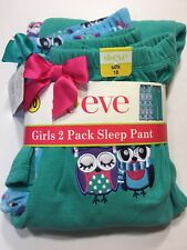 NEW St. Eve Girls Size 10 Sleep Pajama Pant 2 Pack Owl Blue Green Christmas SALE