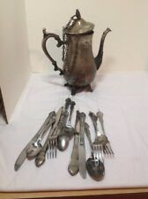 Hand Made Teapot Windchime With Real Teapot And Knifes, Forks And Spoons