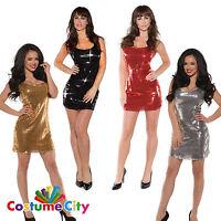 Women's Ladies 70's Disco Sparkle Sequin Short Mini Fancy Dress Party Costume