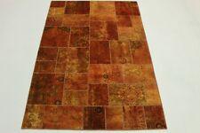 Tapis d'orient Vintage Patchwork 240x160 Used Look brun orangé noué à la main