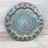 "Vintage Indian Decorative Brass Plate Plaque Tray Enamel Peacock Design 11.5"""
