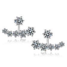 Fashion Beautiful Inlaid Zircon Solid 925 Sterling Silver Ear Stud Earrings