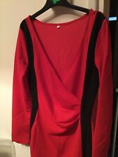 Stretch side stripes wrap dress M red/black stretch fabric New no tag