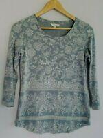 Lucky Brand Women's XS/Extra Small Gray Ivory 3/4 Sleeve Boho Knit Top Shirt