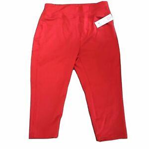 Popfit Leggings Size 3XL Red Crops 3/4 Length Pop Fit 1011-9 Activewear Comfort