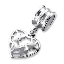925 Sterling Silver Love Heart Filigree Design Bracelet Charm Bead Gift Box B57