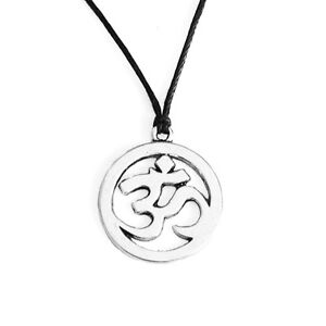Antique Silver Om Ohm Symbol Charms Pendant Choker Necklace with Black Cord