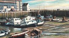 WEST BAY BRIDPORT HARBOUR DORSET Watercolour & Gouache Painting M MCLEAN
