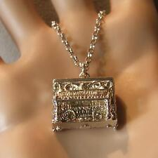 SILVER second hand opening piano pendant & chain