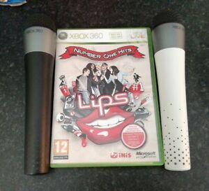 Lips Number One Hits Xbox 360 + 2 Wireless Microphones Mics PAL **FREE UK POST**