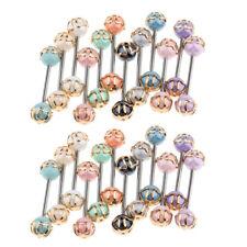 24pcs Colorful Bars Lip Nose Eyebrow Nipple Ear Tongue Rings Piercing 16G