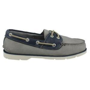 Sperry Top Sider Men's Leeward 2-Eye Grey/Blue Boat Shoe