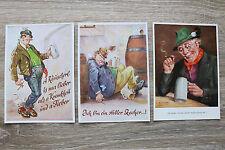 3 humour artiste AK Bavière 1950-60er bavaroise amour pour la bière soif bière!!!