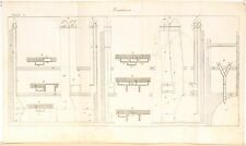 Stampa antica COSTRUZIONI MURATURA Camini Maconnerie Pl 2 1814 Old antique print