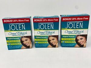 Lot of 3 Jolen Creme Original Formula Kit Lightens Dark Hair 1.2 oz