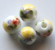 30pcs 10mm Round Porcelain/Ceramic Beads - White / Bright Yellow Flowers