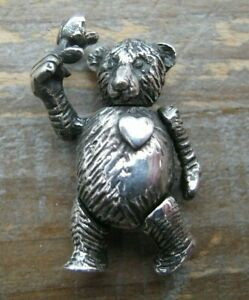 Beautiful Hallmarked Articulated Sterling Silver Teddy Bear Holding A Rose