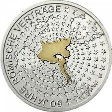 Deutschland 10 Euro 2007 F 50 Jahre Römische Verträge Silber,Stgl teilvergoldet