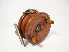 "Vintage Antique Reuben Heaton 3½"" Wooden Brass Nottingham Centrepin Fishing Reel"