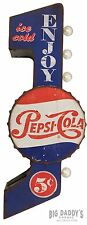 Large Retro Pepsi Sign, Double Sided Metal Marquee W/ LED Lights, Man Cave Bar