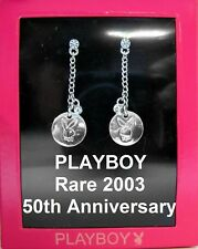 Playboy Earrings Silver Plated Jewelry Swarovski Crystal Chain Dangle NEW RARE
