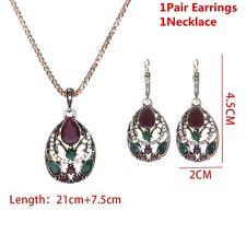 Wedding Jewelry Set Crystal Rhinestones Drop Earrings Resin Pendant Necklace