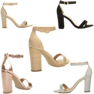 WOMENS BLOCK HEEL ANKLE STRAPPY SANDALS LADIES PEEP TOE GLITTER PARTY SHOES 3-8