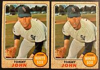 TOMMY JOHN 1968 TOPPS (2) VINTAGE BASEBALL CARD LOT #72