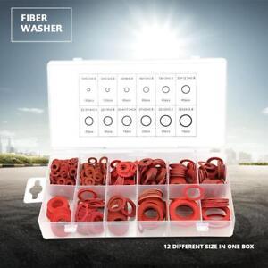 600pcs 12 Sizes Red Steel Paper Fiber Flat Washers Kit Insulation Assorted Set