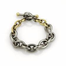 Kieselstein Cord 18k Gold & Steel Oval Link Toggle Clasp Bracelet