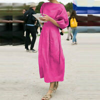 Women Cotton Linen 3/4 Sleeve Long Dress Solid Color Casual Loose Autumn Dresses