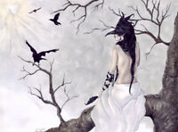 Gothic Fantasy Art PRINT Crows Mask Tree Shaman Black Birds Feathers