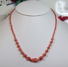 Genuine Natural Dark Pink Coral Necklace With 14K GF Clasp. Graduated. DCR013