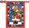 Toland Santa Bear 28 x 40 Christmas Quilt Patchwork Tree Ornament House Flag