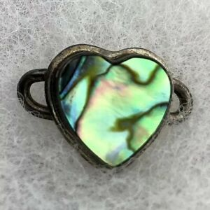 TABRA Sterling Silver ABALONE Paua Shell HEART Connector CHARM for Bracelet