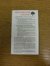 c1980/90's Golf Scorecard: Gatley Golf Club - Four Pages [Scorecard, Rules, Cour
