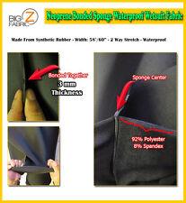 BIGZFABRIC® NEOPRENE BONDED SPONGE WATERPROOF WETSUIT FABRIC - BLACK 3mm - BTY