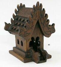 "Small Mini Tabletop THAI SPIRIT HOUSE Teak Wood Buddha Buddhist Temple 5"" Tall"